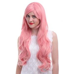Image 3 - Парик L email длиной 32 дюйма, 80 см, парики для косплея, 5 цветов, волнистые, коричневые, бежевые синтетические волосы, парик для косплея