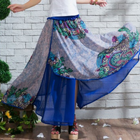 Painting National Summer Trend Women S Chiffon Color Block Decoration Irregular Sweep Expansion Skirt Bust Skirt