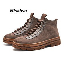 Misalwa Men's High-top Rubber Boots Vintage Anti-Skid Casual Work Safety Boots Autumn Lace Up Sneakers For Men Ankle Short Boots