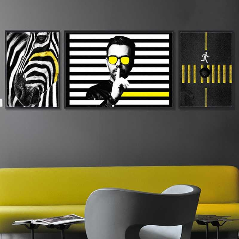 cd092a324c9 ... Nordic Pop Art Black and White Man Yellow Line Sidewalk Canvas Painting  Horse Poster Wall Picture ...