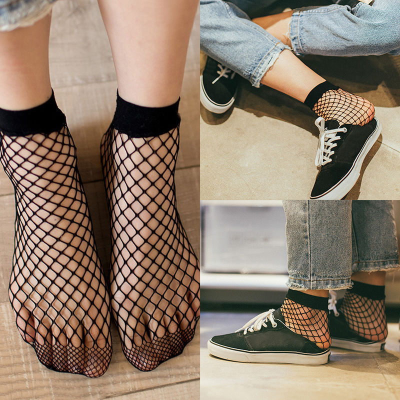 1 Pair Fashion 2018 Cute Casual Women Fishnet Mesh Lace Fish Net Ankle High Short Socks White Black Colors