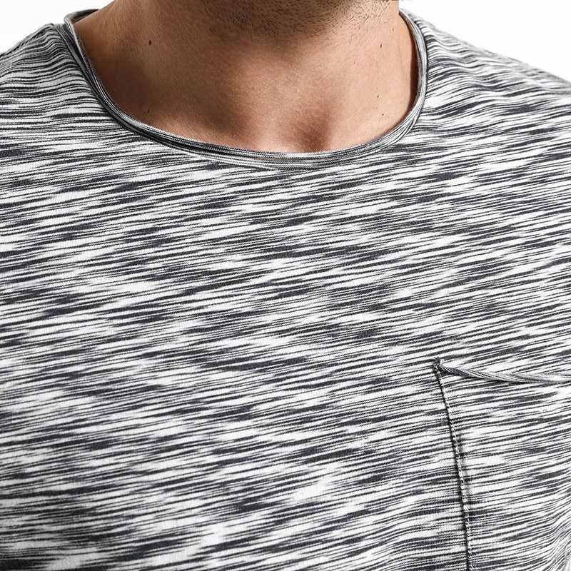 Simwood 2019 Baru Tiba Musim Panas T Shirt Pria Slim Cetak Fit Katun Curl Baku Pendek Lengan Tshirt Merek Pakaian 180051