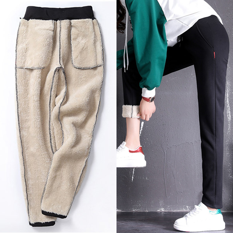 LOMAIYI Women's Winter Pashm Casual Pants Woman Warm Cotton Sweatpants Cashmere Trousers For Women Korean Palazzo Pants BW031