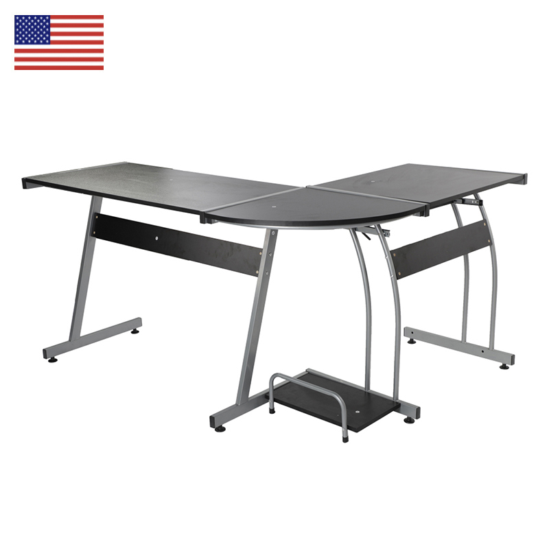 цена L-shaped Concise Corner Computer Desk Laptop PC Table Flat Shape Table Leg Wooden Desktop Office Furniture