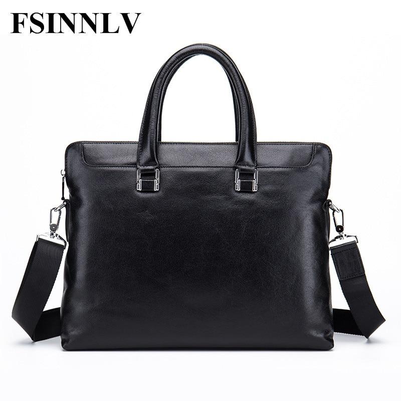 FSINNLV High Quality Genuine Leather Men Bags Briefcase Men Handbag Messenger Crossbody Bags Male Business Shoulder Bags DC202