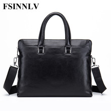 FSINNLV High Quality Genuine Leather Men Bags Briefcase Men Handbag Messenger Crossbody Bags Male Business Shoulder Bags DC202