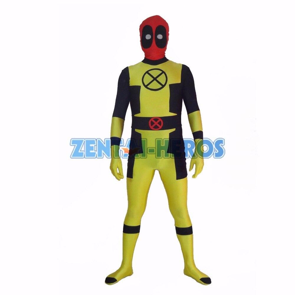 New Custom Yellow Deadpool Superhero Costume Halloween Party Cosplay Sexy Costumes Catsuit Zentai Suit