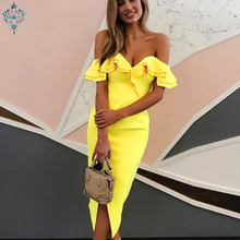 Ameision Summer Sexy Off Shoulder Women Bandage Dress Vestidos 2019 New Slash Neck Club Celebrity Party Runway Dresses