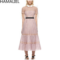 HAMALIEL Summer Women Dress 2017 Runway Pink Lace Hollow Out Patchwork Short Sleeve Female Turn Down
