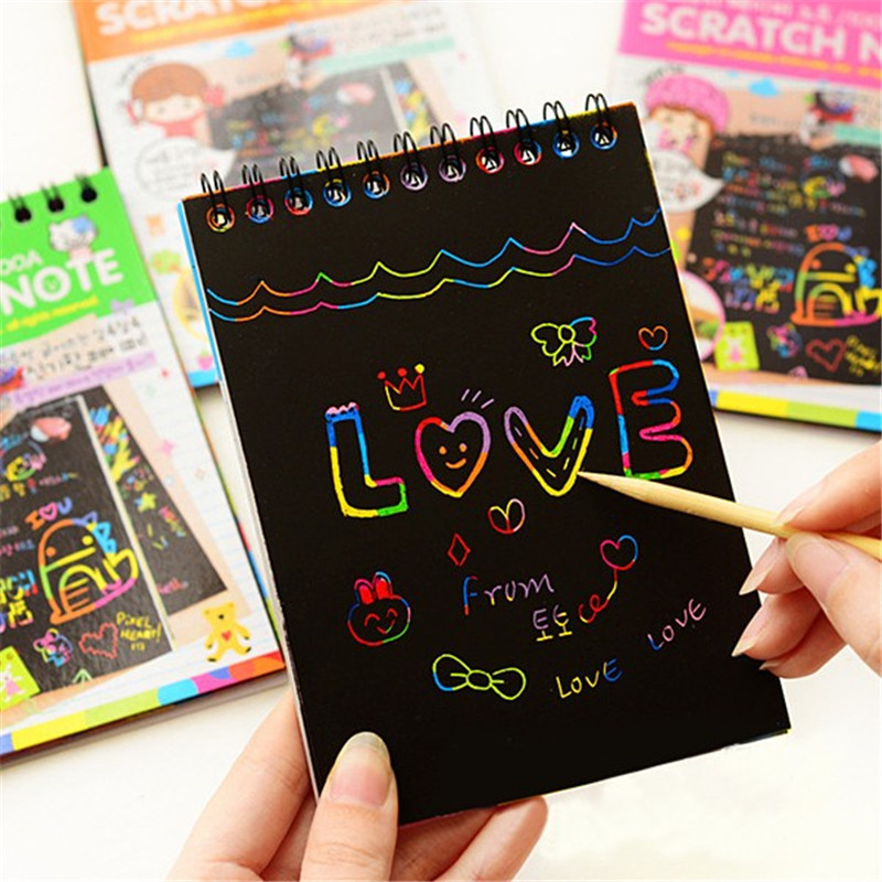 DIY Painting Children Educational Toys New Fun Doodling Scratch Painting Kids Drawing Colorful Black Paper With Wood Stick