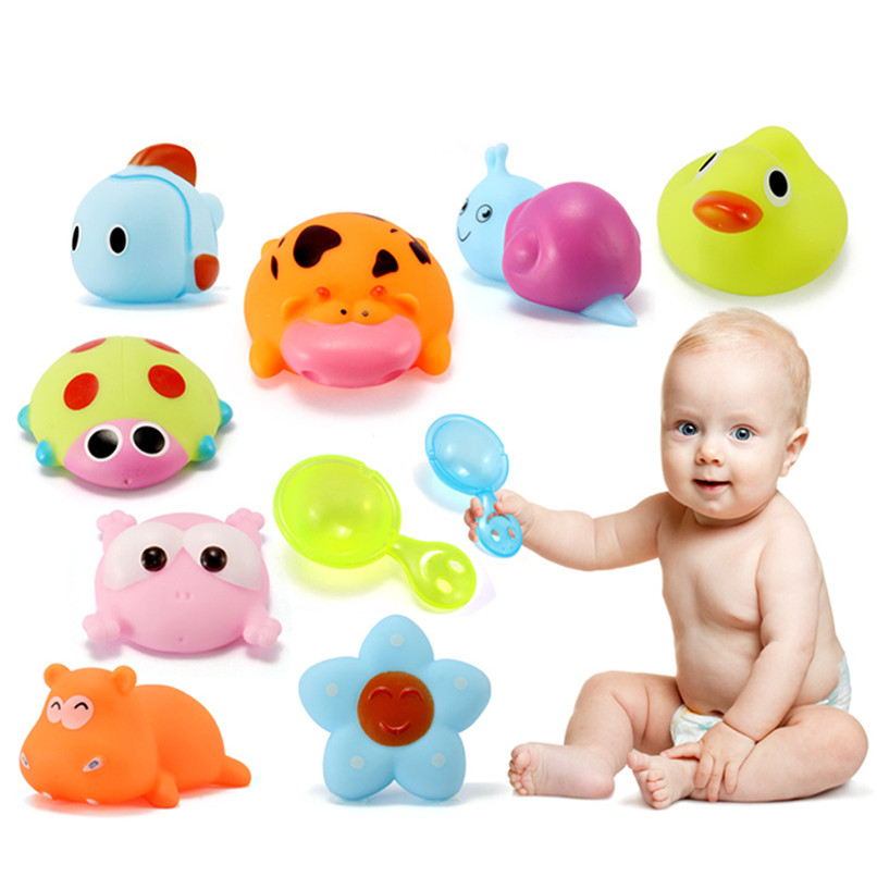 4 Pcs Random Color Dabbling Toys Rubber Animals Images Squeak Toys Baby Bathing Shower Party Toys suit for tub or pool JE25#F