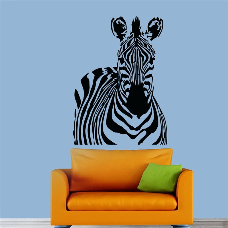 African Zebra Nature Animals Wall Vinyl Decal Sticker Wall Decor Home Interior Design Art Mural wall stickers #T329