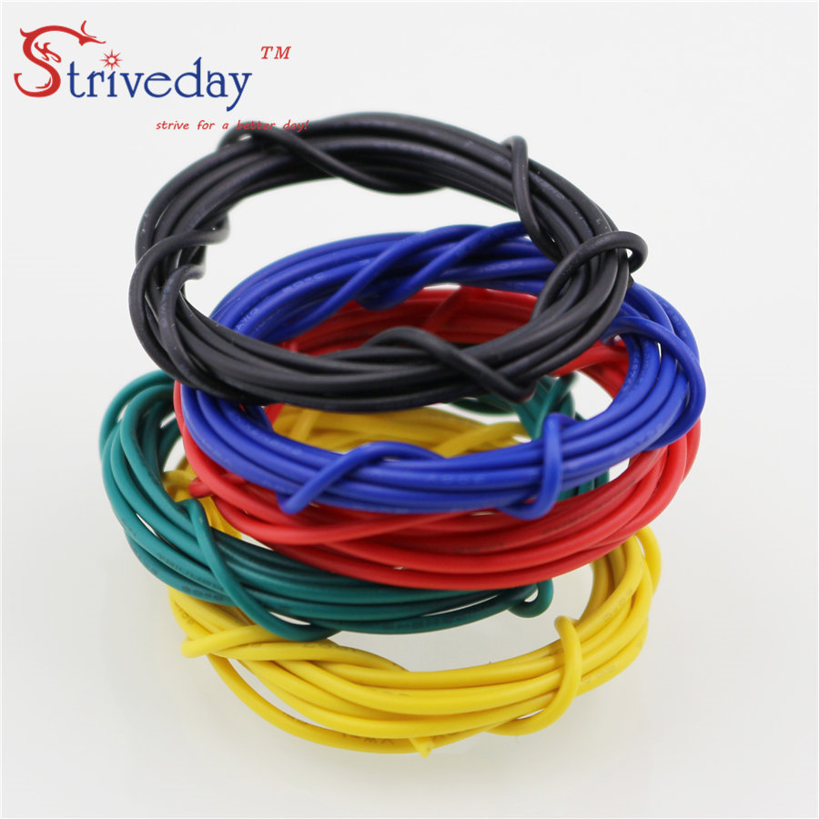 Striveday 1007 24 AWG Cable Copper Wire 1 Meter Red /Blue /Green/ Black /  Yellow Electrical Wires Cables DIY Equipment Wire-in Wires & Cables from  Lights ...