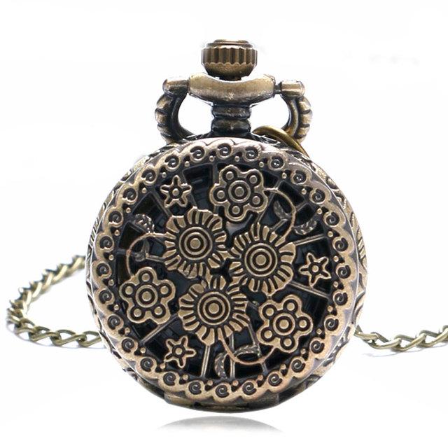 Bronze Vintage Stylish Beautiful Flower Small Size Quartz Pocket Watch Necklace for Womens Ladies Gifts Relogio De Bolso Antigo