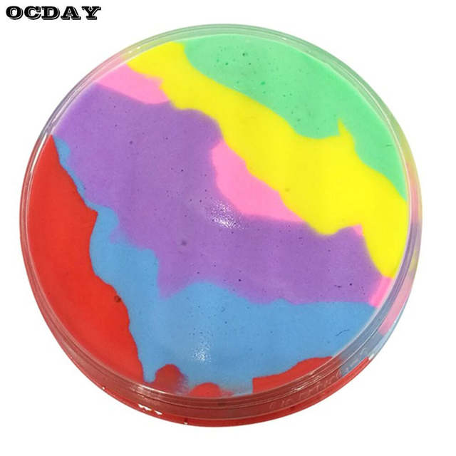 Us 2 04 35 Off 6 Color Rainbow Fluffy Slime Plasticine Stress Relief Toys Light Clay Air Dry Diy Soft Playdough Creative Handgum Toys For Kids In