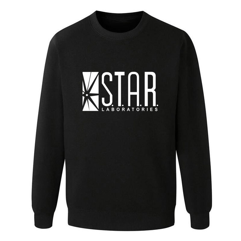 Hot The Flash Star Lab Letters Printing Students Sweatshirt Men Autumn Round Neck Hoodies Casual Pullovers Brand Clothing