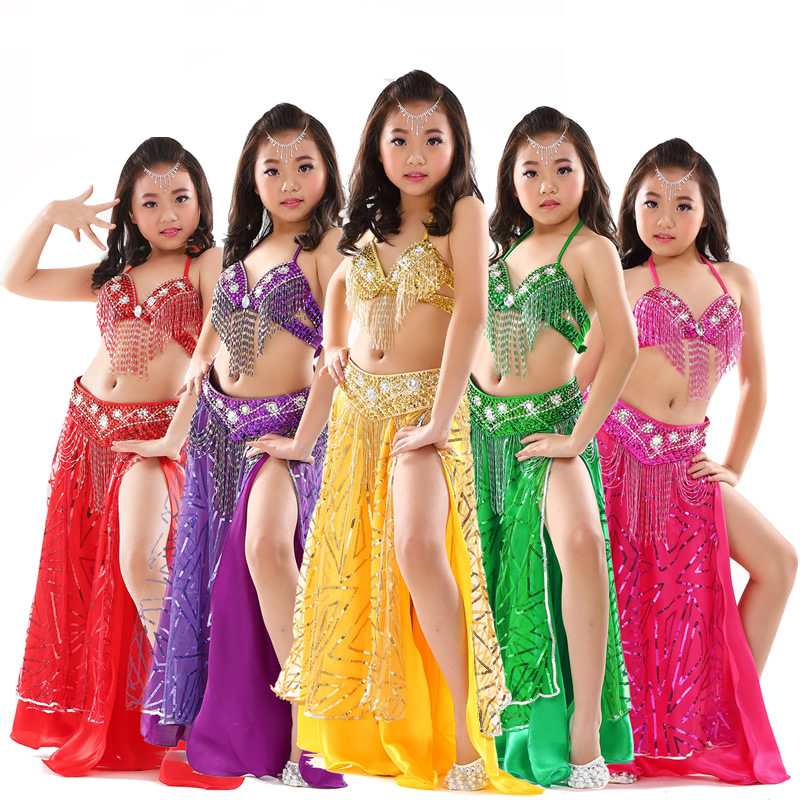 Kid/'s Professional Belly Dance Costumes Performance Stage Outfits Dancewear #814