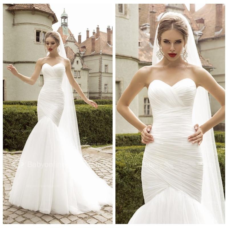Ruching Wedding Gowns: Sweetheart Surplice Bodice Slim Mermaid Wedding Dress