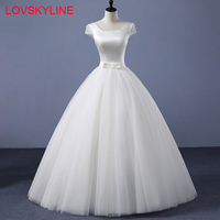 New Arrival Wedding Dress Ivory Puffy Square Collar Bow Short Sleeves Simple Bridal Wedding Dress Lace