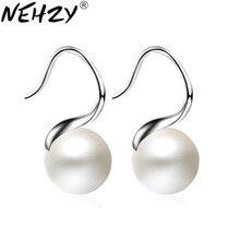 NEHZY 925 sterling silver biżuteria kobieta luksusowe perły wiszące kolczyki modne proste w kształcie kropli ucha wiszące kwiaty Hot