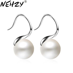NEHZY 925 sterling silver jewelry woman Luxury pearl hanging earrings fashionable simple drop-shaped ear hanging flowers Hot