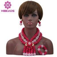 Bebé romántico y Rosa Fucsia Crystal Bridal Jewelry Beads Bolas De Plástico WD375 Joyería Partido de Las Mujeres Colgante 2017 Envío Libre