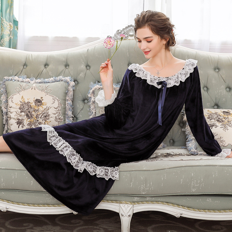 Winter <font><b>Sexy</b></font> Nightgown with Velvet Thickened Sweet Palace Princess Velvet <font><b>Night</b></font> <font><b>Dress</b></font> Women's Warm Lace Home Clothes Sleepwear image