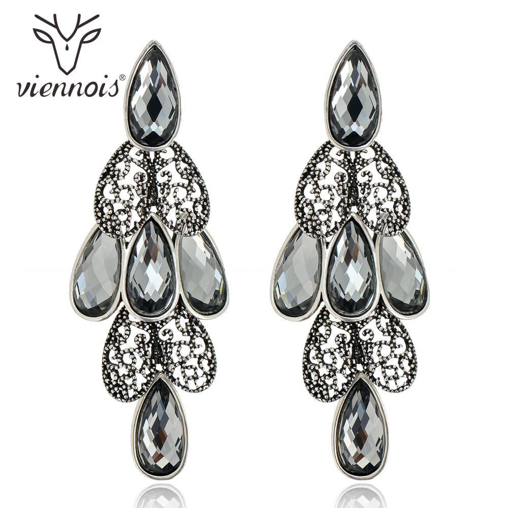 Viennois Antique Silver Color Woman Hollow Out Earrings Black Rhinestone Vintage Crystal Earrings Drop Earrings tear drop beaded hollow out rhinestone earrings