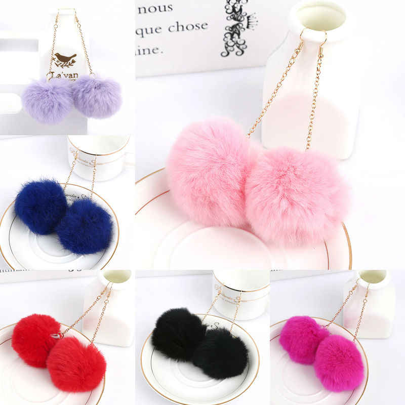 Sale Elegant Women Accessories Fashion Lovely Red Pink Black Pom Pom Fur Ball Long Dangle Pendant Earring Jewelry Christmas Gift