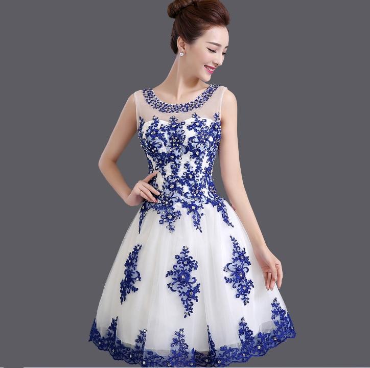 Robe de soiree 2019 κοντό Lace up κολάρο U μπλε & - Ειδικές φορέματα περίπτωσης - Φωτογραφία 3