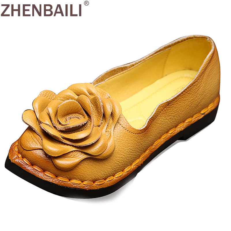 Fashion Genuine Leather Flower Women Casual Shoes Spring Autumn Pointed Toe Sewing Shoes Soft Slip-on Ladies Flat Shoes new 2017 men s genuine leather casual shoes korean fashion style breathable male shoes men spring autumn slip on low top loafers