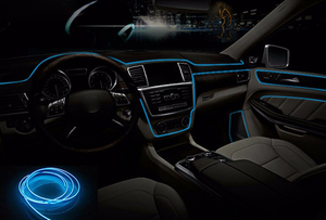 Image 5 - 12 فولت سيارة LED EL سلك شرائط مقاوم للماء مرنة النيون EL سلك داخلي داخلي مرنة LED الطرف الديكور قطاع شريط أضواء السيارات