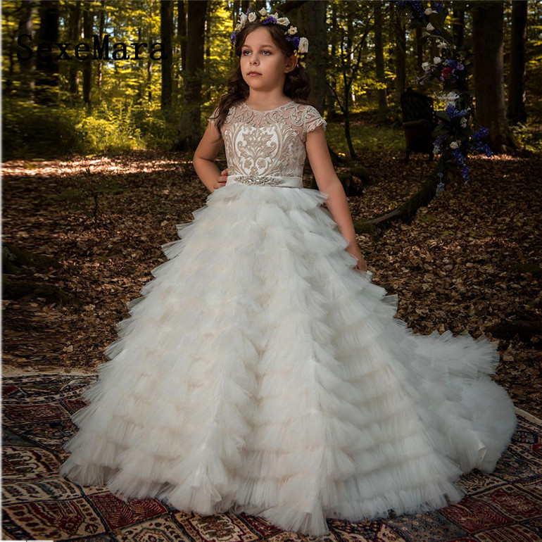 Cap Sleeves Champagne Lace Flower Girl Dresses For Weddings Tulle Children Long First Communion Dresses For Little GirlsCap Sleeves Champagne Lace Flower Girl Dresses For Weddings Tulle Children Long First Communion Dresses For Little Girls