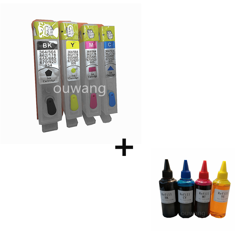 Refillable Ink Cartridge With Chip For HP934 HP935 for HP OfficeJet Pro 6830 6230 6815 6812 6835 Send + 400ml dye ink