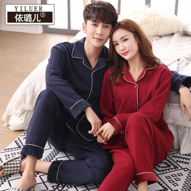 Couples pajamas women spring and autumn long - sleeved men s home casual casual cotton