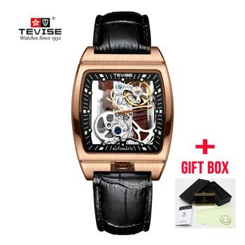 2019 New Relogio TEVISE Automatico Mechanical Watches Men Skeleton Square Dial Tourbillon Business Watch Masculino Wristwatches Переносные часы
