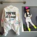 Новинка девушки костюм детей спортивной одежды комплект coloful письмо печатные дети костюм комплект одежды для 2-7лет