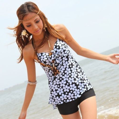 2014 New Tankini Set For Women Swimsuitwith Attached Bottom Floral Bathing Suit Push -3787