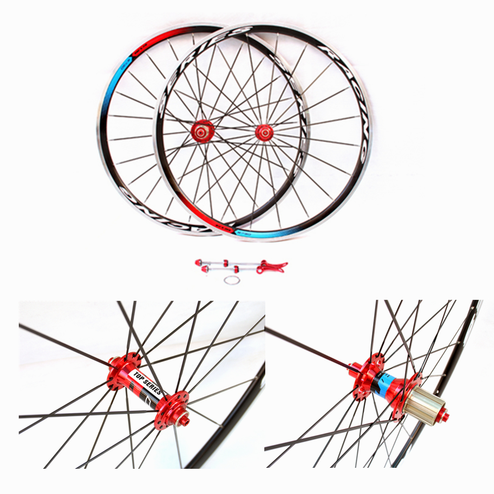 GUB road bicycle v brake wheelset clincher alloy wheel 700C road wheelset 11 speed Compatible 1set front and rear 700c road bike wheel bicycle magnesium alloy three spokes parts integrated wheel fixed gear single speed