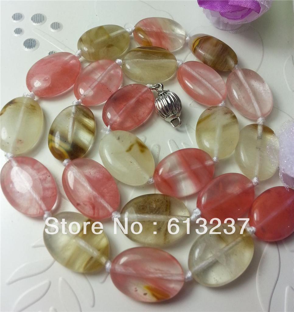 hot free Shipping new Fashion Style Beautiful 13x18mm Watermelon Tourmaline Oval stoe crystal Necklace 18'' MY3313