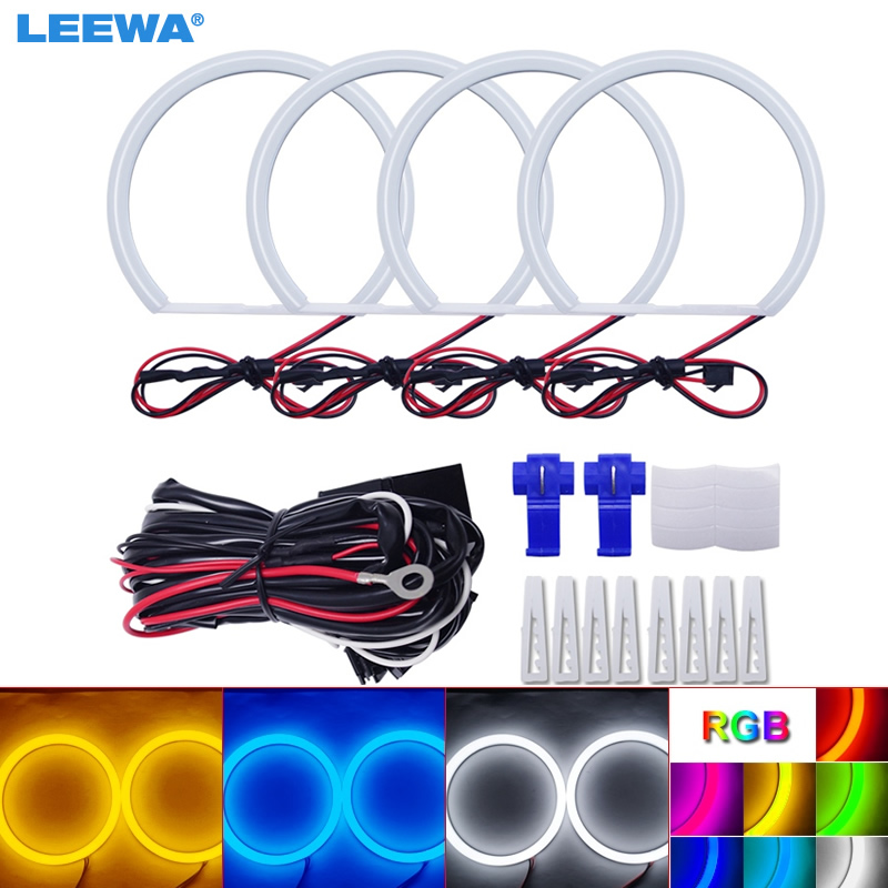 LEEWA 4X131mm Car Auto Halo Rings Cotton Lights SMD LED Angel Eyes for Lada VAZ <font><b>2106</b></font> Car Styling White/Blue/Yellow/RGB #CA1106 image