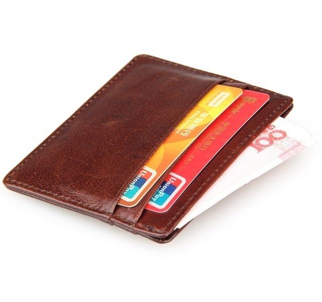 100% Genuine Cow Leather Mens Card Case Slim Wallets Men Super
