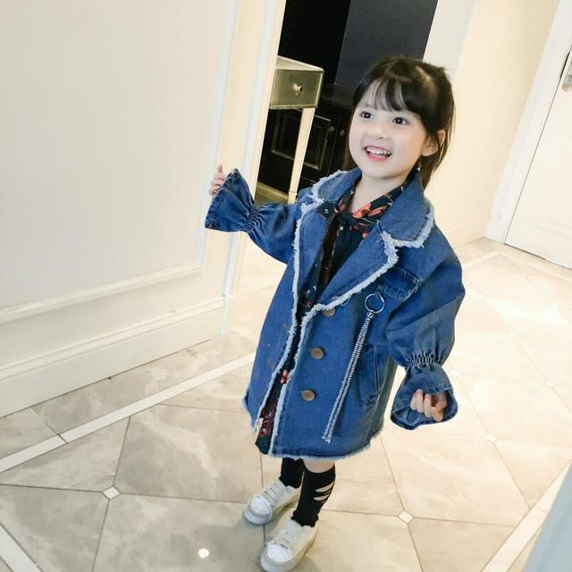 ae9ef4cd1 2018 New Winter Kids Girls Denim Trench Coat Jacket Children Long Jacket  Fashion Korean Style Long Cute Coat for Autumn Winter