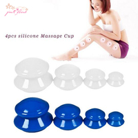 4Pcs Moisture Absorber Anti Cellulite Vacuum Cupping Cup Silicone Family Neck Body Massage Therapy Cupping Cup