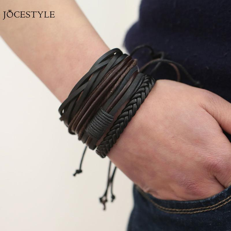 Handmade Mens Leather Bracelets Adjustable Multilayer Bead Bracelet Men Bohemian Vintage Leather Charm Bracelet