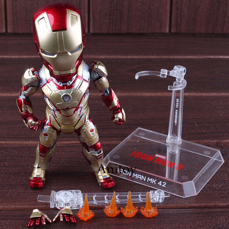 EAA-036 Action Figure Marvel Iron Man 3 MARK 42 with LED Light PVC Iron Man Egg Attack Action Collectible Model Toys Gift 17cm marvel the avengers stark iron man 3 mark vii mk 42 43 mk42 mk43 pvc action figure collectible model toys 18cm kt395