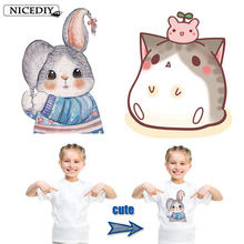 Nicediy Cartoon Cute Cat Rabbit Iron-on Patch 2 Styles Children Clothing Stickers DIY Heat Transfer Applique