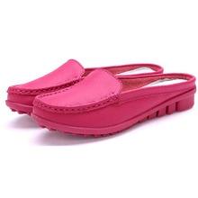 Neue sandalen frauen sommer halb hausschuhe flip flops Echtes Leder sandalen clogs Schuhe Frau Big Size 35-41 3d18