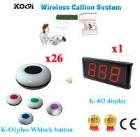 Waiter Bell Calling System Cheapest Waiter Calling Bell Wireless Equipment 433.92mhz(1 Display+26 Call Button)|call button|waiter calling systemwireless calling bell -
