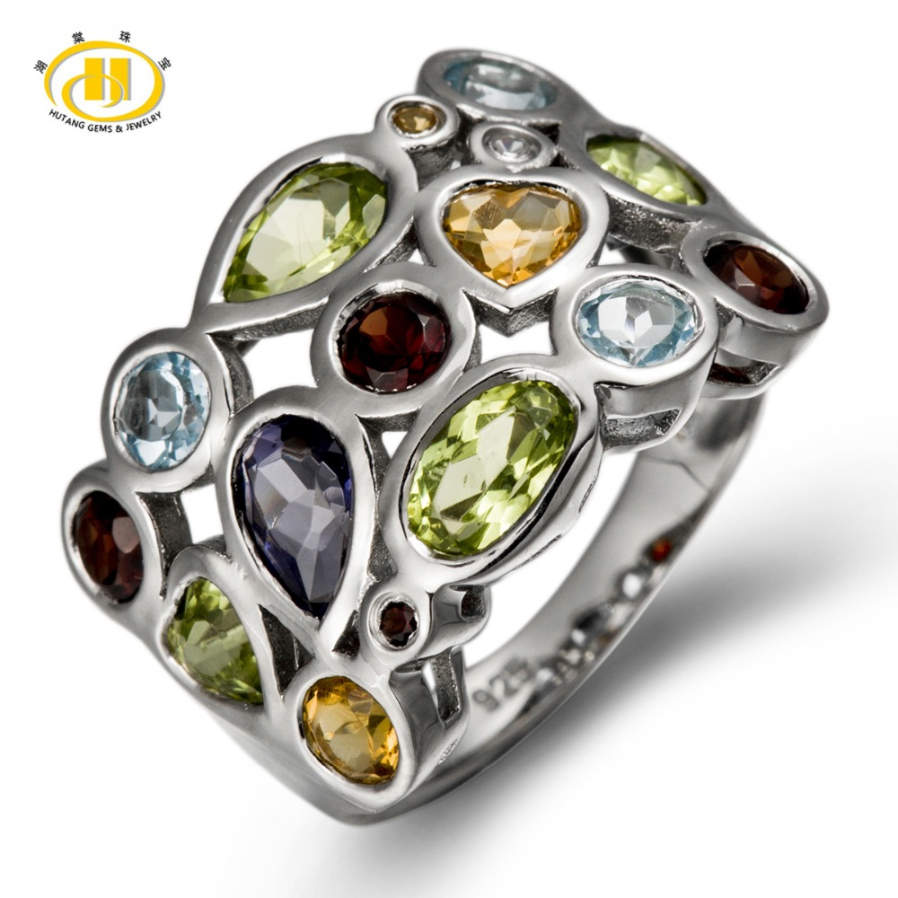 Hutang Genuine Multi-color Gemstones Solid 925 Sterling Silver Cluster Ring For Womens Jewelry Gift Romantic Wedding Rings